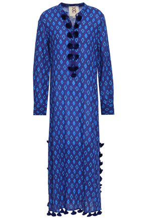 FIGUE Tasseled printed cotton-blend midi dress