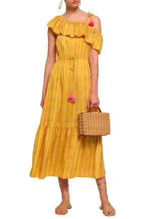 FIGUE Miguelina one-shoulder printed silk-gauze midi dress