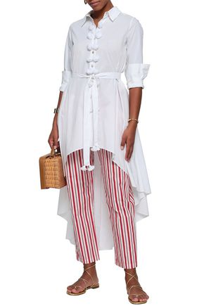 FIGUE Asymmetric tassel-trimmed cotton-poplin shirt