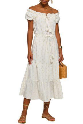 FIGUE Off-the-shoulder fil coupé cotton-blend midi dress
