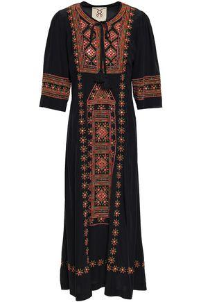 FIGUE Embroidered silk crepe de chine midi dress