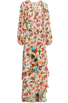 FIGUE Tiered floral-print silk crepe de chine maxi wrap dress