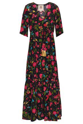 FIGUE Tasseled floral-print silk maxi dress