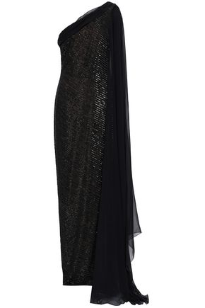 REEM ACRA Embellished one-shoulder silk-chiffon gown