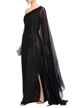 REEM ACRA Embellished one-shoulder silk-chiffon gown
