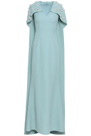 SAFIYAA Cape-back embellished crepe gown