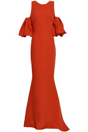 SAFIYAA Cold-shoulder gathered crepe gown