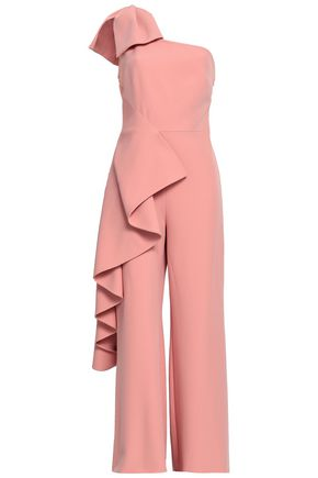SAFIYAA One-shoulder draped crepe jumpsuit