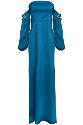 SAFIYAA Off-the-shoulder embellished satin gown