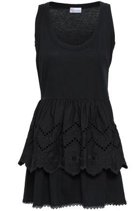 REDValentino Broderie anglaise cotton-jersey mini dress