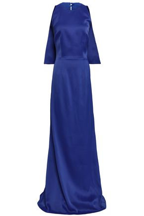 SAFIYAA Cape-effect embellished satin-crepe gown