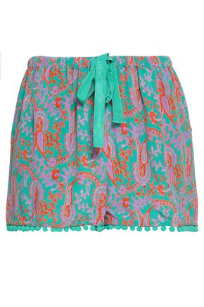 FIGUE Pompom-embellished printed silk crepe de chine shorts