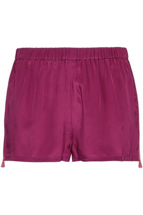 FIGUE Cassia embroidered silk crepe de chine shorts