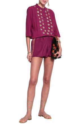 FIGUE Cassia embroidered silk crepe de chine shorts