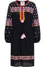 FIGUE Savannah tasseled embroidered cotton-blend mini dress