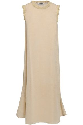 JIL SANDER Crocheted cotton and linen-blend midi dress