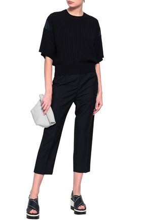 JIL SANDER Ribbed wool-blend and cotton-poplin top