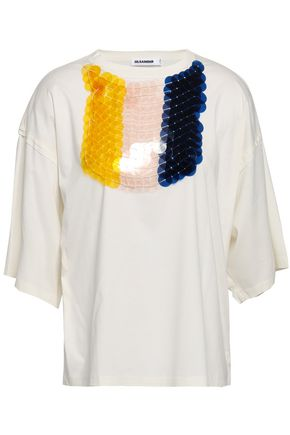 JIL SANDER Embellished cotton-jersey T-shirt
