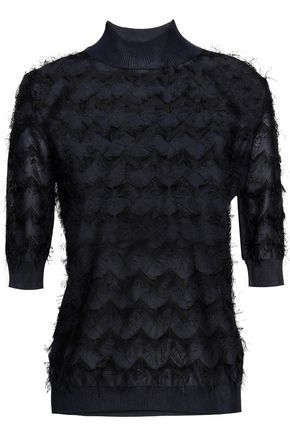 JIL SANDER Fringed crochet-knit turtleneck sweater