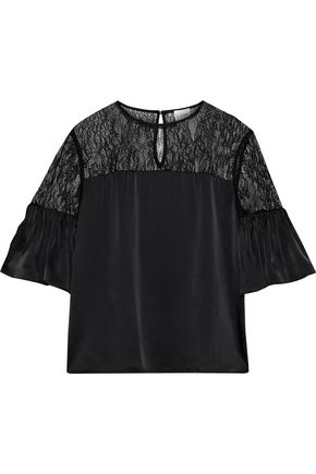 CAMI NYC The Shauna corded lace-paneled silk-charmeuse top