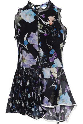 3.1 PHILLIP LIM Cutout floral-print silk-georgette peplum blouse