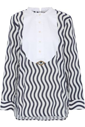 FIGUE Evil Eye piqué-paneled printed cotton-gauze shirt