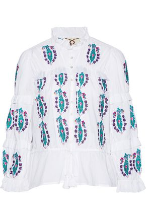 FIGUE Adeline ruffle-trimmed embroidered cotton-voile top