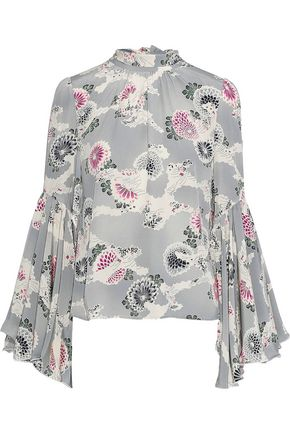 CO Tie-back fluted floral-print silk blouse