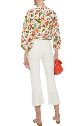 FIGUE Isadora tasseled printed silk crepe de chine blouse