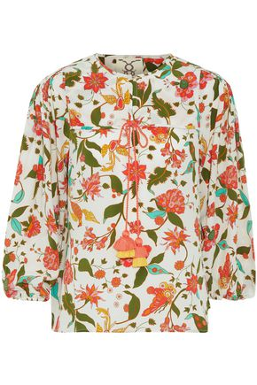 FIGUE Isadora tasseled printed silk crepe de chine blouse