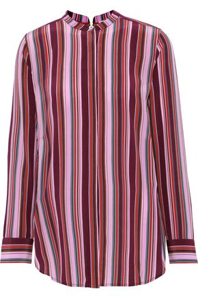 FIGUE Monique striped silk crepe de chine shirt