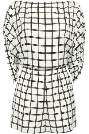 DIANE VON FURSTENBERG Open-back checked crepe playsuit
