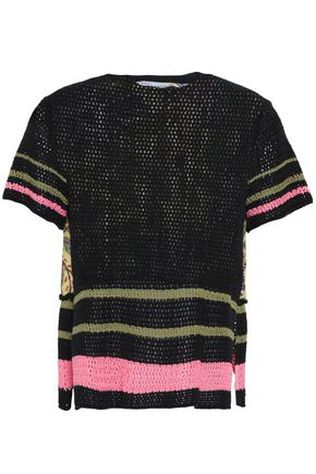 REDValentino Crocheted cotton and floral-print silk top