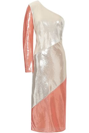 DIANE VON FURSTENBERG One-shoulder sequined silk midi dress