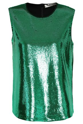 DIANE VON FURSTENBERG Sequined satin-crepe top
