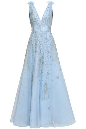 ZUHAIR MURAD Embellished embroidered silk-blend tulle gown