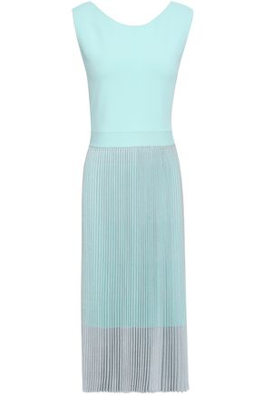 ANTONINO VALENTI Metallic pleated knitted dress