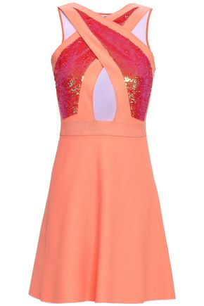 ANTONINO VALENTI Sequin-embellished cutout cotton-blend mini dress