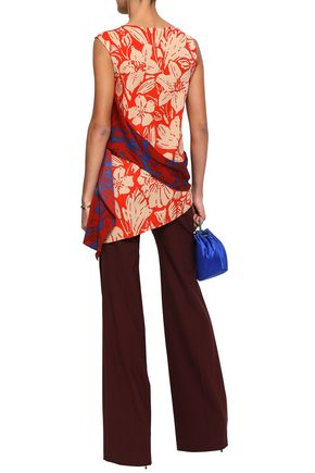 DIANE VON FURSTENBERG Asymmetric printed silk-blend top