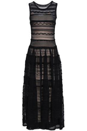 ANTONINO VALENTI Gathered open and pointelle-knit midi dress