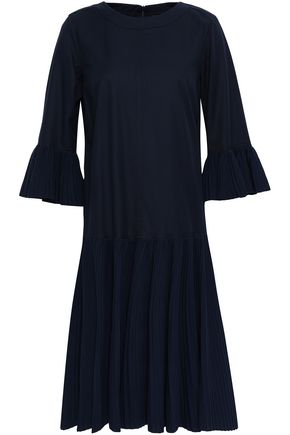 ANTONINO VALENTI Pleated paneled cotton-blend twill and knitted dress