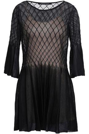ANTONINO VALENTI Pleated paneled silk-blend mini dress
