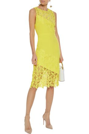 ALICE + OLIVIA Margy neon guipure lace-paneled ponte dress