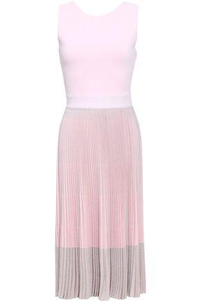 ANTONINO VALENTI Metallic pleated knitted dress