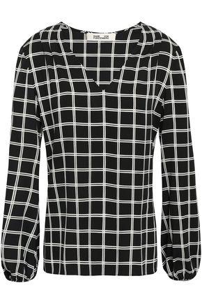 DIANE VON FURSTENBERG Checked crepe blouse