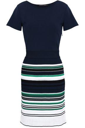 ANTONINO VALENTI Pleated striped stretch and open-knit mini dress