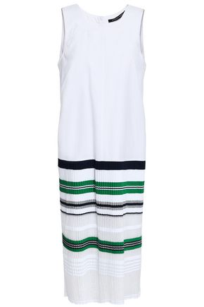 ANTONINO VALENTI Paneled cotton-blend poplin and striped knitted dress