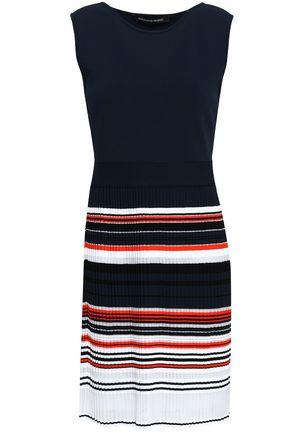 ANTONINO VALENTI Striped ribbed and stretch-knit mini dress