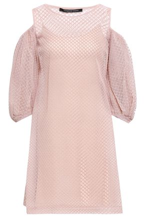 ANTONINO VALENTI Cold-shoulder gathered macramé and tulle mini dress