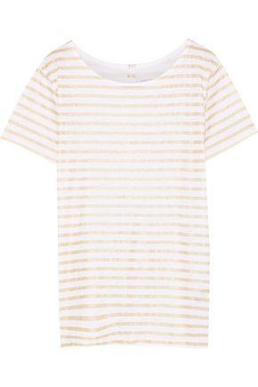 MAJESTIC FILATURES Metallic striped slub linen-jersey T-shirt